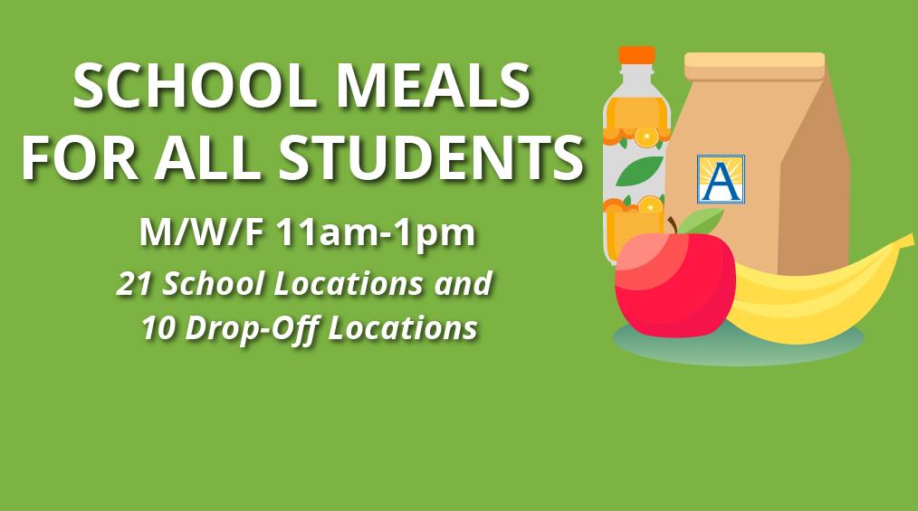 Refeições grátis para estudantes durante o encerramento / Comida gratis para estudiantes mientras las escuelas están cerradas