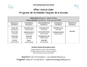 Winter 2021 Club Schedule