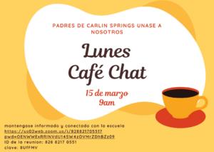 15月XNUMX日,西班牙语家长咖啡聊天传单
